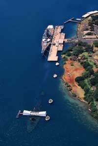 Pearl Harbor Tour - Aerial view of the Arizona Memorial and the Battleship Missouri.