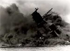 The USS Arizona on fire and sinking.