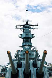 The huge guns are a popular part of the Battleship USS Missouri tour.